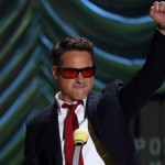 Robert Downey Jr. accepts his award during the 2015 MTV Movie Awards in Los Angeles