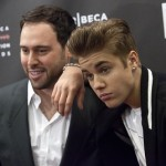 Scooter Braun and Justin Bieber attend the 3rd annual Tribeca Disruptive Innovation Awards during the 2012 Tribeca Film Festival in New York